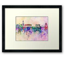 Venice skyline in watercolor background Framed Print