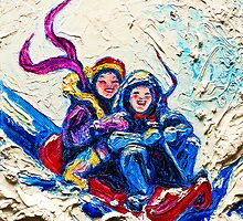 Children Sledding in the Snow by OriginalbyParis