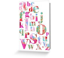 Pink Alphabet Greeting Card