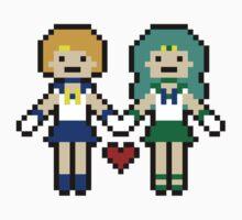 Uranus and Neptune Pixel Love - Sticker  by rydiachacha