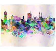 Vienna skyline in watercolor background Poster