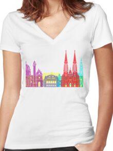Vienna skyline pop Women's Fitted V-Neck T-Shirt