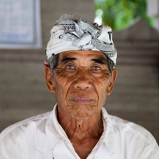 Balinese Elder At Hindu Temple by Vince Russell