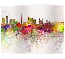 Vilnius skyline in watercolor background Poster