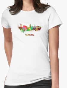 Vienna skyline in watercolor Womens Fitted T-Shirt