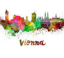 Vienna skyline in watercolor by paulrommer