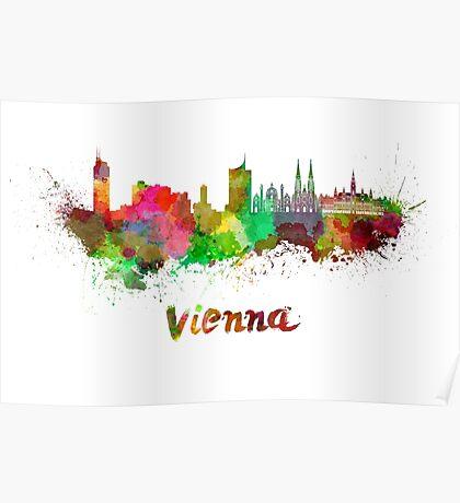 Vienna skyline in watercolor Poster