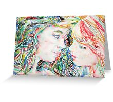 TWO GIRLS / WATERCOLOR PORTRAIT Greeting Card