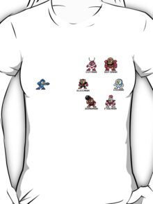 Megaman and Bosses 1 (with black text) T-Shirt