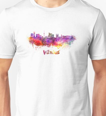 Vilnius skyline in watercolor Unisex T-Shirt