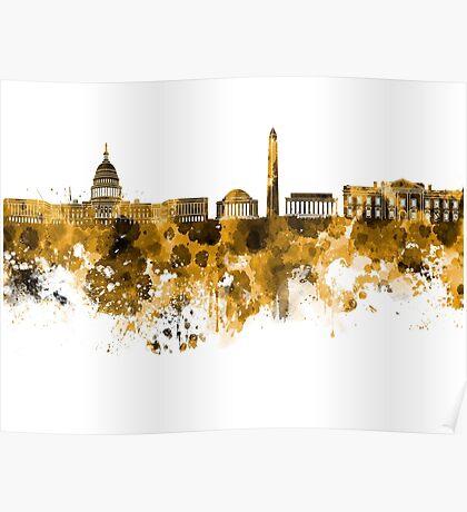 Washington DC skyline in orange watercolor on white background  Poster