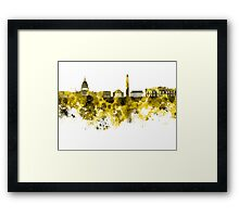 Washington DC skyline in yellowe watercolor on white background  Framed Print