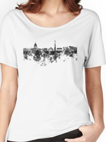 Washington DC skyline in black watercolor on white background  Women's Relaxed Fit T-Shirt