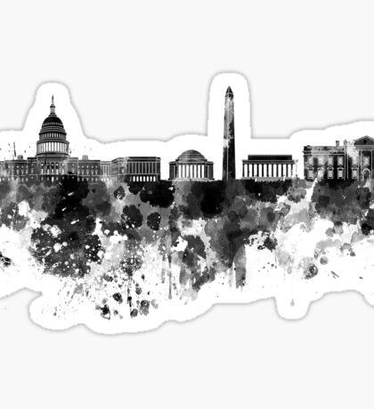 Washington DC skyline in black watercolor on white background  Sticker