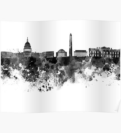 Washington DC skyline in black watercolor on white background  Poster