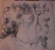2 x Female heads/(2 of 3) -(030413)- A5 sketchbook/white + black biro pen by paulramnora