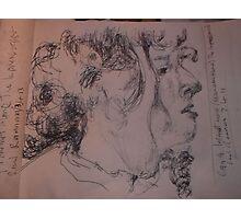 2 x Female heads/(2 of 3) -(030413)- A5 sketchbook/white + black biro pen Photographic Print