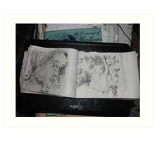 2 x Female heads/(1 of 3) -(030413)- A5 sketchbook/white + black biro pen Art Print