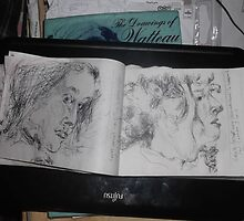 2 x Female heads/(1 of 3) -(030413)- A5 sketchbook/white + black biro pen by paulramnora
