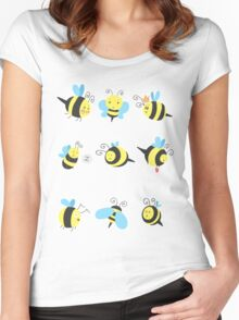 Nine Cute Little Bumblebees Women's Fitted Scoop T-Shirt