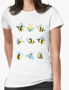 Nine Cute Little Bumblebees Womens Fitted T-Shirt
