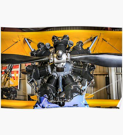Radial Engine on a PT17 Stearman bi-plane Poster