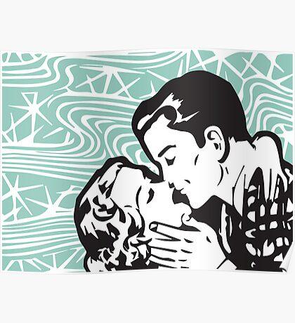 Pop art kiss in teal Poster