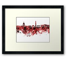 Washington DC skyline in watercolor on red background  Framed Print