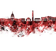 Washington DC skyline in watercolor on red background  Photographic Print