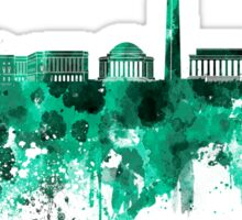 Washington DC skyline in green watercolor on white background  Sticker