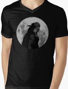 Mononoke black and white moon Mens V-Neck T-Shirt