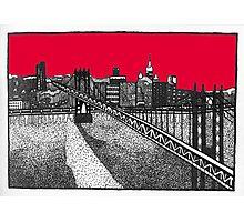 NEW YORK - Brooklyn Bridge in red Photographic Print