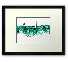 Washington DC skyline in green watercolor on white background  Framed Print