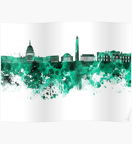 Washington DC skyline in green watercolor on white background  Poster