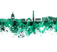 Washington DC skyline in green watercolor on white background  Photographic Print