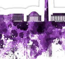Washington DC skyline in purple watercolor on white background  Sticker