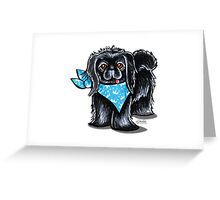 Black Pekingese Blue Prince Greeting Card