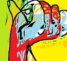 Multi-coloured abstract hand -(040413)- Digital art/mouse drawn/MS Paint by paulramnora
