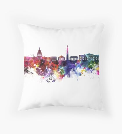 Washington DC skyline in watercolor on white background  Throw Pillow