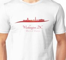 Washington DC skyline in red and gray background Unisex T-Shirt
