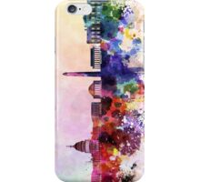 Washington DC skyline in watercolor background  iPhone Case/Skin