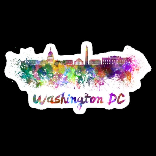 Washington DC skyline in watercolor by paulrommer