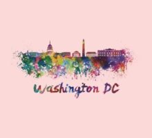 Washington DC skyline in watercolor Baby Tee