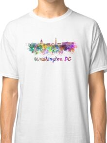 Washington DC skyline in watercolor Classic T-Shirt