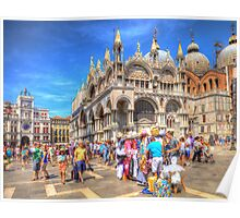 Venice Italy street vendors HDR Poster