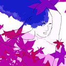 Purple and blue hearts 9 by Gunes Yilmaz