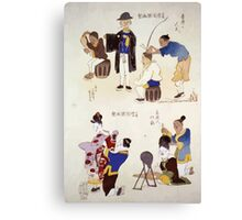 Humorous pictures showing various Chinese clothing and grooming habits 001 Canvas Print