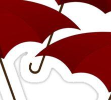 Three Red Umbrellas Sticker