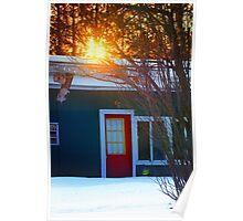 Red Door on Abandoned Apartments Poster
