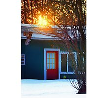 Red Door on Abandoned Apartments Photographic Print